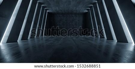 Huge Big Dark Hall Garage Tunnel Corridor Car Empty Studio Background White Windows Light Glow Cement Asphalt Concrete Grunge Dark Tall 3D Rendering Illustration