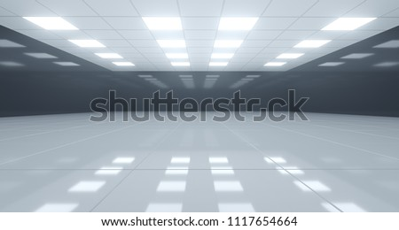 Huge Black And White Empty Room With Square Lights On Ceiling And Reflective Floor. 3D Rendering Illustration