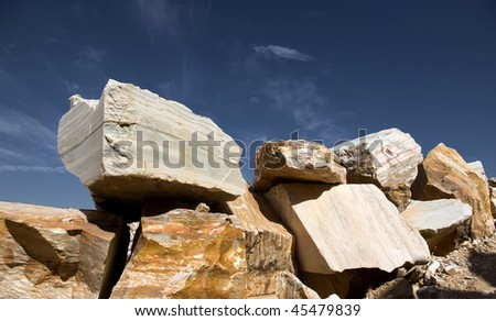 Huge blocks of marble from an extraction industry in Portugal.