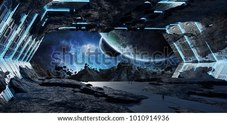 Huge blueish asteroid spaceship interior 3D rendering elements of this image furnished by NASA