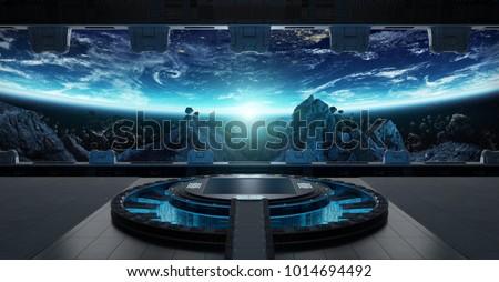 Huge blueish landing strip spaceship interior 3D rendering elements of this image furnished by NASA