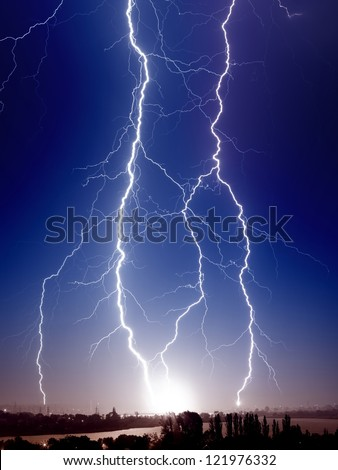 Huge bolt of lightnings hits small town