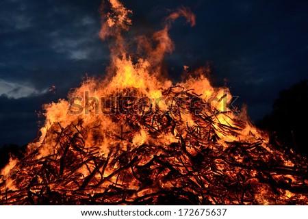 Huge Bonfire at night