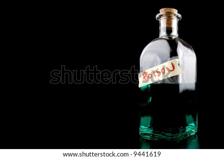 huge bottle with green poison on black