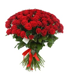Huge bouquet of beautiful red roses on white background