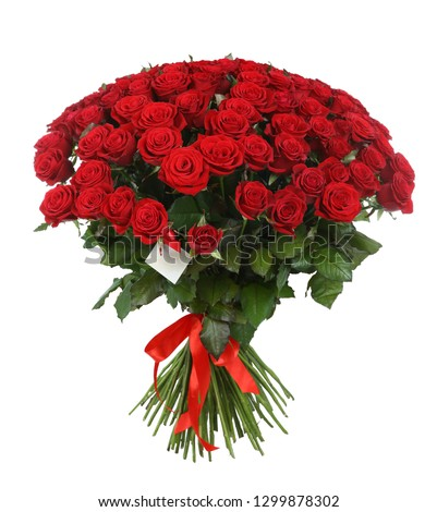 Huge bouquet of beautiful red roses on white background #1299878302