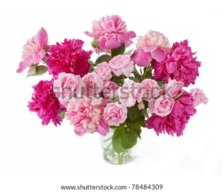 Huge bunch of peonies and roses in vase on white