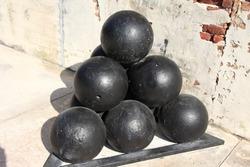 Huge canon balls, Florida Keys, USA