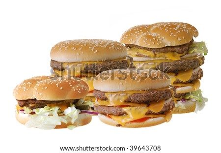 Huge cheeseburgers isolated on white background