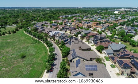 Huge community with Solar panel rooftop one the leading renewable and sustainable energy Efficiency neighborhood in east Austin, Texas the Mueller suburb is covered in rooftop solar energy
