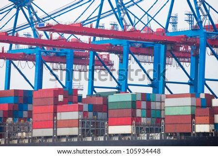 Huge container ship fully loaded in port terminal