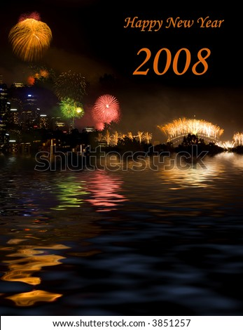 Huge crowds always gather for Sydney\'s New Year\'s Eve celebrations, when fireworks are let off from the harbour bridge and from two barges on the harbor. Photo montage.