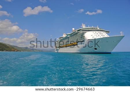huge cruise ship in caribbean port