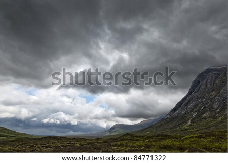 Huge dark clouds over the plains of Ranoch Moor in the Scottish Highlands
