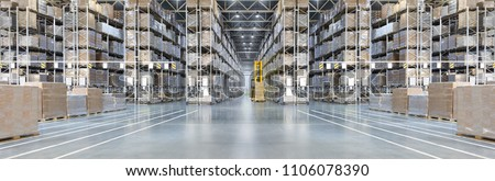 Huge distribution warehouse with high shelves and loaders. Bottom view. #1106078390
