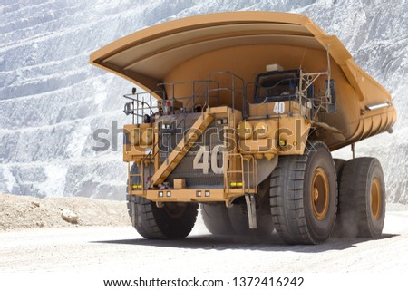 Huge dump truck in a open pit copper mine in northern Chile