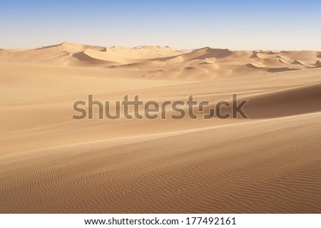 Huge dunes of the desert. Fine place for photographers and travelers. Beautiful structures of sandy barkhans. #177492161