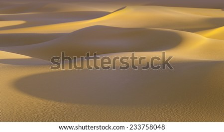 Huge dunes of the desert. Fine place for photographers and travelers. Beautiful structures of sandy barkhans.  #233758048
