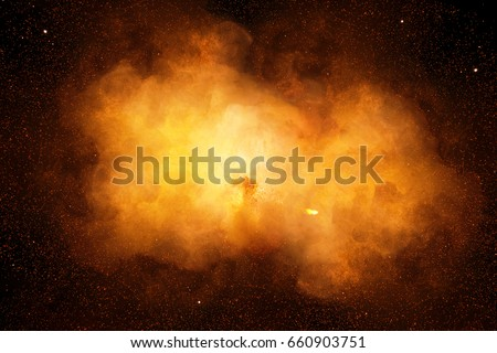 Huge, extremely hot explosion with sparks and hot smoke, against black background #660903751