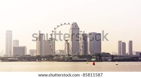 Huge ferry wheel in front of a cityscape, Singapore