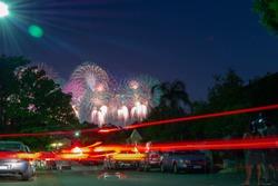 huge fireworks landscape over south perth