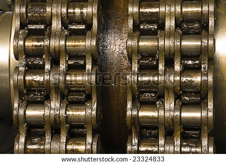 huge greasy roller chain - stock photo