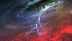 Huge hurricane from the inside. Clouds with hurricane eye and lightning bolt and rain above the red earth. Elements of this image furnished by NASA.