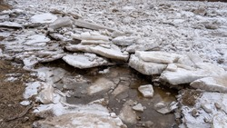 Huge Ice Loads Drift in the River Ogre, Latvia. Congestion on the River in the Spring. A Large Cluster of Moving Ice Blocks