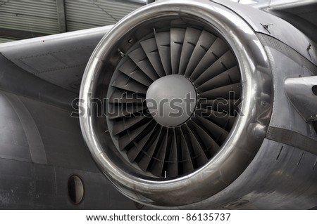 Huge Jet engine on an old plane