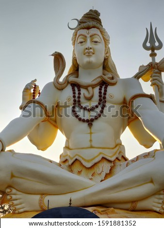 Huge lord shiva statue with snake in the neck and trishool in hand  Stock photo ©