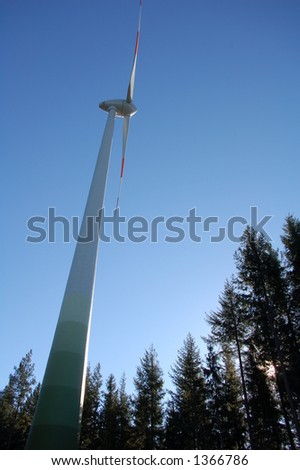 huge 66m modern windmill (germany) - stock photo