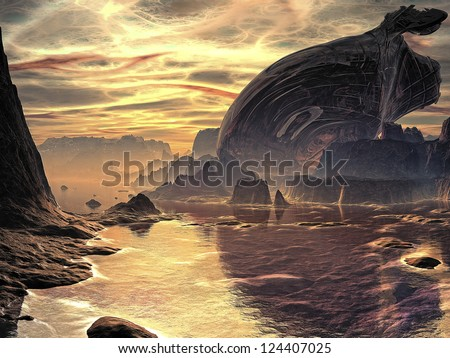 Huge metallic hulk of a crashed alien spacecraft lays abandoned on the sea shore of a distant planet.