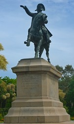 Huge monument of Napoleon on a horse in Cherbourg, France