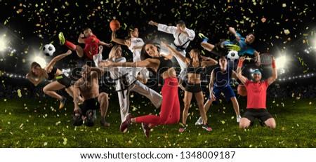 Huge multi sports black collage basketball taekwondo, karate, bodybuilding, athletics
