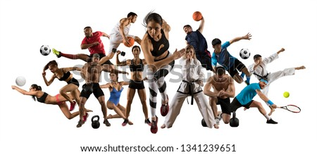 Huge multi sports collage athletics, taekwondo, tennis, karate, soccer, basketball, football, bodybuilding, etc