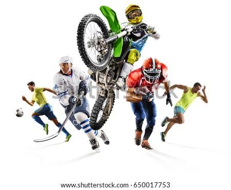 Huge multi sports collage soccer athletics football hockey motocross #650017753
