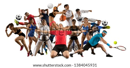Huge multi sports collage taekwondo, volleyball, tennis, soccer, basketball, football, bodybuilding, etc. On white background #1384045931