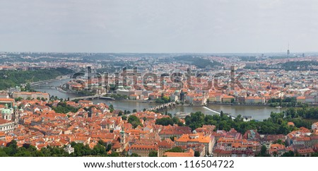 Huge panorama of Prague city, one of the most beautiful city in Europe. Charles Bridge