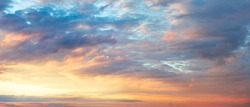 Huge Panoramic Sunrise Sundown Sanset Sky with colorful clouds, without any birds. Big size sky panoramic view