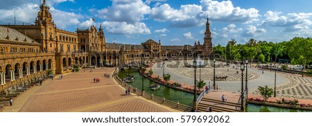 Shutterstock Huge Panoramic view of The Plaza de Espana is a plaza in the Parque de Maria Luisa, in Seville, Spain, built in 1928 for the Ibero-American Exposition of 1929