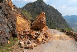 Huge piece of rock crashed and fallen on mountain road in Ha Giang, Vietnam