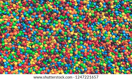 Huge pile of colorful coated chocolate candies background. 3D Rendering.