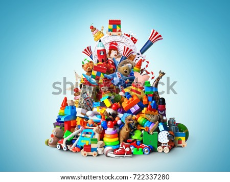 Huge pile of different and colored toys #722337280