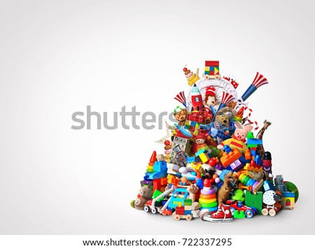Huge pile of different and colored toys #722337295