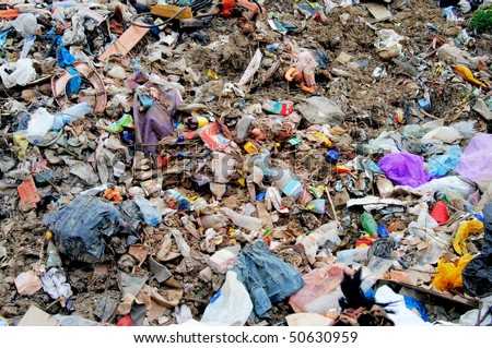 Huge pile of municipal waste on a disposal site