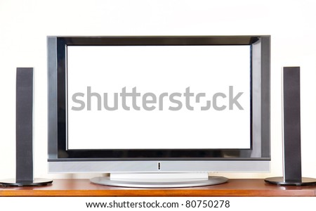 Huge Plasma / LCD TV with surroundsound system, blank screen for copyspace