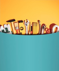 Huge pocket with set of DIY and home renovation tools, all in one service and toolkit concept