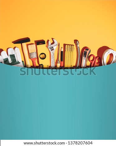 Huge pocket with set of DIY and home renovation tools, all in one service and toolkit concept #1378207604