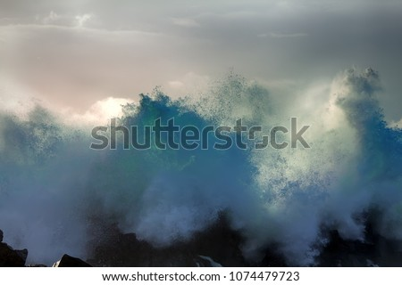 Huge powerful wave hit shore and picks up fountains of spray - turbulent waves of Pacific ocean and rugged beauty of basalt rocks (shoal head), impact of waves against rocks as powerful concept