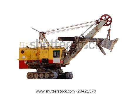 Huge quarry excavator isolated on white